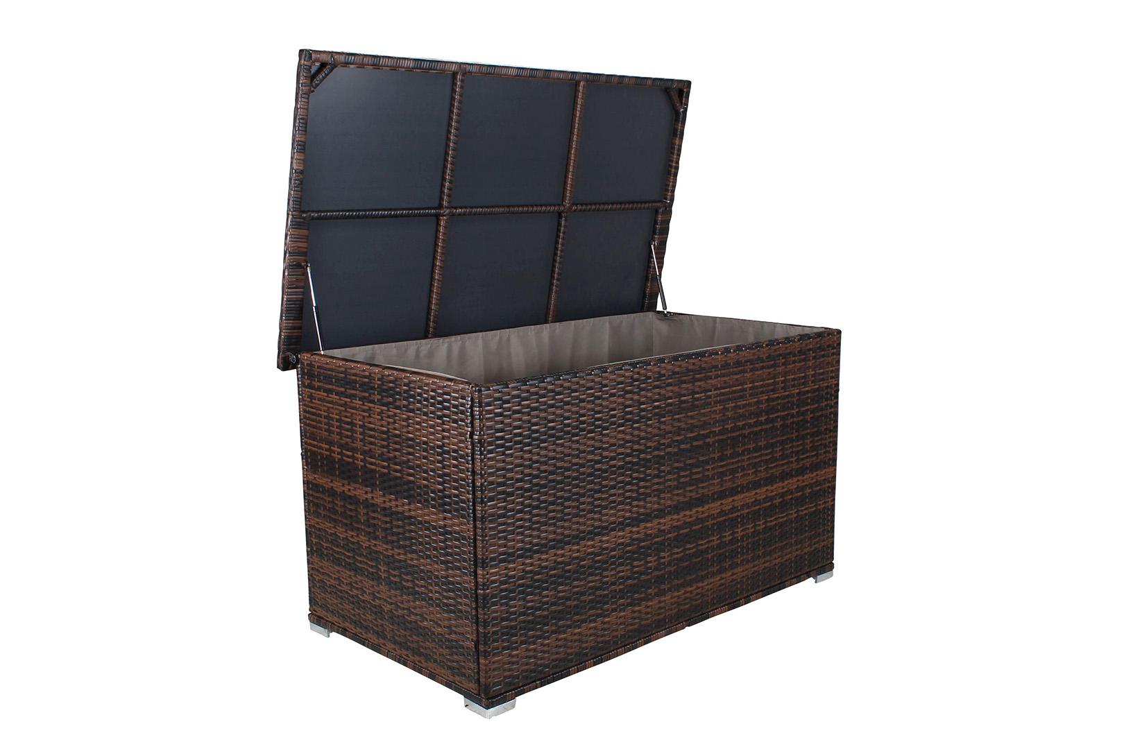 miweba xxl auflagenbox kissenbox 950l gartentruhe box polyrattan liege sitztruhe ebay. Black Bedroom Furniture Sets. Home Design Ideas