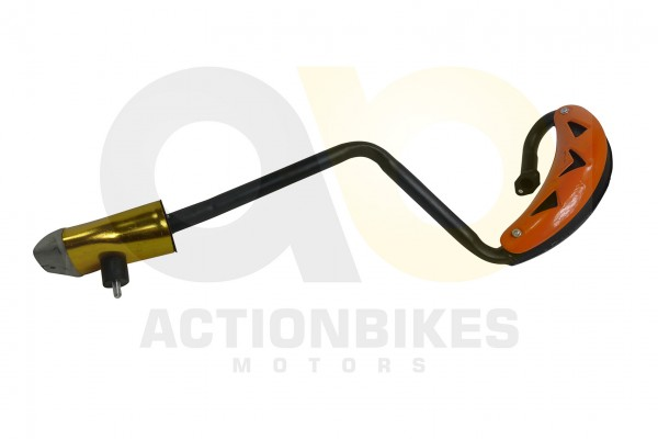 Actionbikes Mini-Cross-Delta-Auspuff-NEUE-VERSION-mit-orangem-Hitzeschutzblech 48442D3130302D3031322
