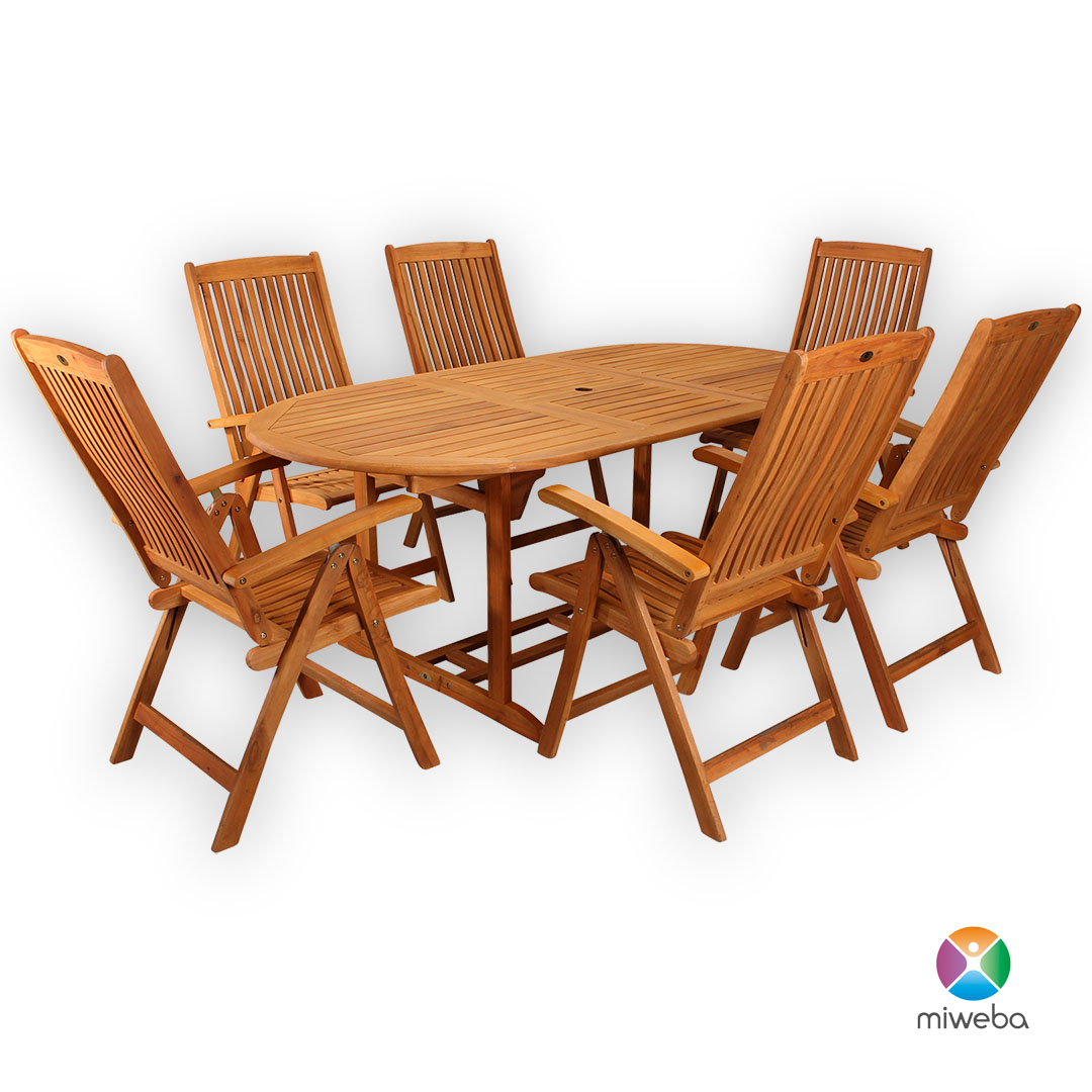 Miweba Caribbian Holz Sitzgarnitur Belmont Medium 150200 Tisch m